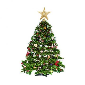 sdgfd Weihnachtsbaumspitze, Weihnachtsbaum Christbaumspitze Stern–Gold Glitzer Metall Baum Stern Großartiges Design - 6