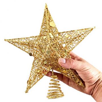 sdgfd Weihnachtsbaumspitze, Weihnachtsbaum Christbaumspitze Stern–Gold Glitzer Metall Baum Stern Großartiges Design - 7