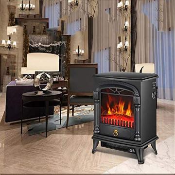 SEESEE.U Elektroherd 2000 W realistische 3D-Flammeneffekt Sicherheit tat Kamin Heizung Holzflammeneffekt dreiseitige Glas freistehende Kamine Monochrome Flamme - 2