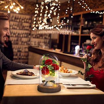 Shirylzee Rose im Glas Ewige Rose Glas Licht Künstliche Rose mit LED-Licht in Glaskuppel, Romantisch Dekoration Geschenk zum Muttertag Valentinstag Jubiläum Geburtstag Hochzeit Weihnachten (Rot) - 2