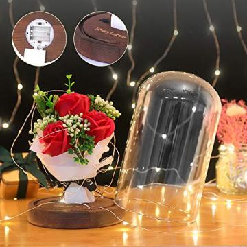 Shirylzee Rose im Glas Ewige Rose Glas Licht Künstliche Rose mit LED-Licht in Glaskuppel, Romantisch Dekoration Geschenk zum Muttertag Valentinstag Jubiläum Geburtstag Hochzeit Weihnachten (Rot) - 5