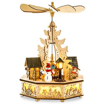 Sikora P33 LED Holz Weihnachtspyramide mit elektrischem Antrieb und Beleuchtung, Farbe/Modell:Motiv Laterne Schneemann Kind Häuser - 2