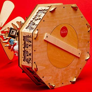 Sikora P33 LED Holz Weihnachtspyramide mit elektrischem Antrieb und Beleuchtung, Farbe/Modell:Motiv Laterne Schneemann Kind Häuser - 4