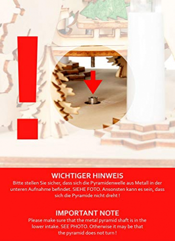 Sikora P33 LED Holz Weihnachtspyramide mit elektrischem Antrieb und Beleuchtung, Farbe/Modell:Motiv Laterne Schneemann Kind Häuser - 5