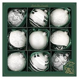 Silber/Satin-Silber, Glaskugelsortiment 8cm, mundgeblasen und handdekoriert, 5 versch. Designs - 1