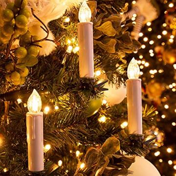 Soontrans LED Christbaumkerzen Kabellos Weihnachtsbaumkerzen Weihnachtskerzen Warmweiß Flammenlos mit Timer-Fernbedienung für Außen Innen Weinachtsdeko Halloween Hochzeit Party 20er - 6