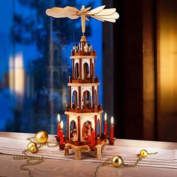 Spielwerk Weihnachtspyramide Groß 4-Stöckig Klassisch Drehend Echtholz Handbemalt Indoor Weihnachtsdekoration Klassik - 2