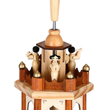 Spielwerk Weihnachtspyramide Groß 4-Stöckig Klassisch Drehend Echtholz Handbemalt Indoor Weihnachtsdekoration Klassik - 4