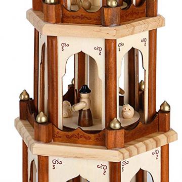 Spielwerk Weihnachtspyramide Groß 4-Stöckig Klassisch Drehend Echtholz Handbemalt Indoor Weihnachtsdekoration Klassik - 5