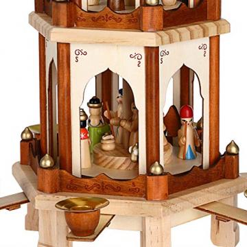 Spielwerk Weihnachtspyramide Groß 4-Stöckig Klassisch Drehend Echtholz Handbemalt Indoor Weihnachtsdekoration Klassik - 7