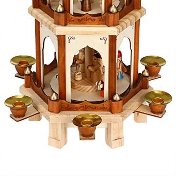 Spielwerk Weihnachtspyramide Groß 4-Stöckig Klassisch Drehend Echtholz Handbemalt Indoor Weihnachtsdekoration Klassik - 8