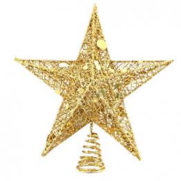 SpringPear® 15 cm Golden Weihnachtsbaumspitze Glitzernd Stern aus Metall Weihnachtsbaum Glitzer Topper Party Dekoration - 1