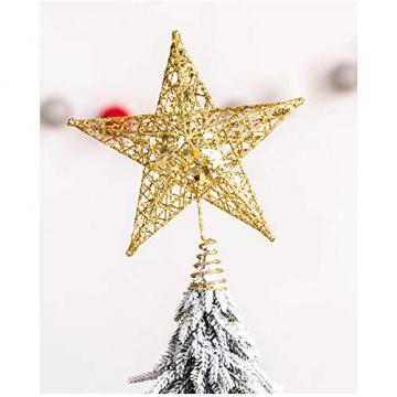 SpringPear® 15 cm Golden Weihnachtsbaumspitze Glitzernd Stern aus Metall Weihnachtsbaum Glitzer Topper Party Dekoration - 4