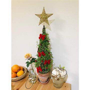 SpringPear® 15 cm Golden Weihnachtsbaumspitze Glitzernd Stern aus Metall Weihnachtsbaum Glitzer Topper Party Dekoration - 5