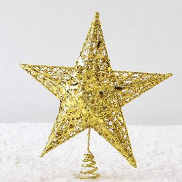SpringPear® 15 cm Golden Weihnachtsbaumspitze Glitzernd Stern aus Metall Weihnachtsbaum Glitzer Topper Party Dekoration - 6