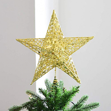 SpringPear® 15 cm Golden Weihnachtsbaumspitze Glitzernd Stern aus Metall Weihnachtsbaum Glitzer Topper Party Dekoration - 7