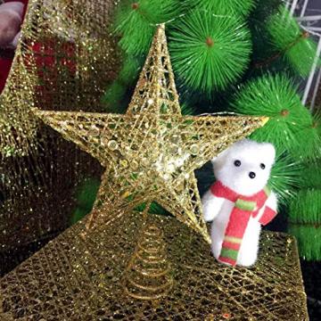 SpringPear® 15 cm Golden Weihnachtsbaumspitze Glitzernd Stern aus Metall Weihnachtsbaum Glitzer Topper Party Dekoration - 8