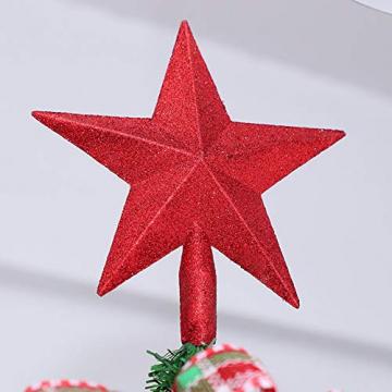 Sqxaldm Christbaumspitze Stern Verzierung Weihnachtsbaum Stern Baumspitze Kunststoff Stern Deko Christbaumspitze Glitzer Stern Weihnachtsbaum Topper Christbaumspitze Stern Weihnachtsbaum (2 Stücke) - 7