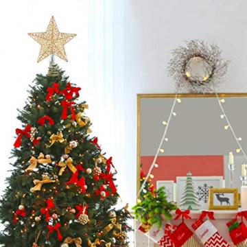 STOBOK Weihna Chtsbaum Topper beleuchtete Sterne glitzernden funkelnden Sterne Baumkrone Weihna Chtsfeier Weihnachten Desktop Urlaub Dekoration Goldene Ornamente warme Lichter Anhänger - 2