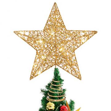 STOBOK Weihna Chtsbaum Topper beleuchtete Sterne glitzernden funkelnden Sterne Baumkrone Weihna Chtsfeier Weihnachten Desktop Urlaub Dekoration Goldene Ornamente warme Lichter Anhänger - 1
