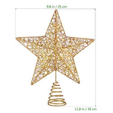 STOBOK Weihna Chtsbaum Topper beleuchtete Sterne glitzernden funkelnden Sterne Baumkrone Weihna Chtsfeier Weihnachten Desktop Urlaub Dekoration Goldene Ornamente warme Lichter Anhänger - 5