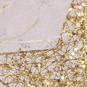 STOBOK Weihna Chtsbaum Topper beleuchtete Sterne glitzernden funkelnden Sterne Baumkrone Weihna Chtsfeier Weihnachten Desktop Urlaub Dekoration Goldene Ornamente warme Lichter Anhänger - 6