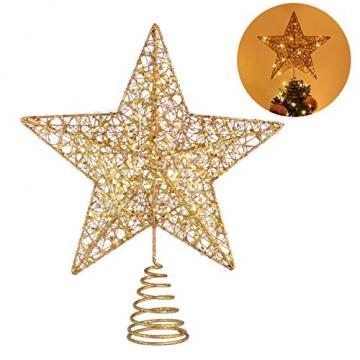 STOBOK Weihna Chtsbaum Topper beleuchtete Sterne glitzernden funkelnden Sterne Baumkrone Weihna Chtsfeier Weihnachten Desktop Urlaub Dekoration Goldene Ornamente warme Lichter Anhänger - 8