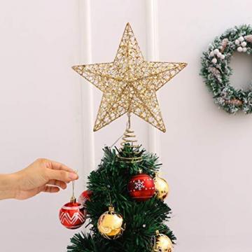 STOBOK Weihna Chtsbaum Topper beleuchtete Sterne glitzernden funkelnden Sterne Baumkrone Weihna Chtsfeier Weihnachten Desktop Urlaub Dekoration Goldene Ornamente warme Lichter Anhänger - 9