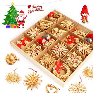 Strohsterne Weihnachtsbaum, 52 Stück Weihnachtlicher Baumschmuck Stroh Anhänger Strohstern, Christbaum Schmuck Strohanhänger natürlicher Christbaumanhänger Weihnachtsdeko - 3