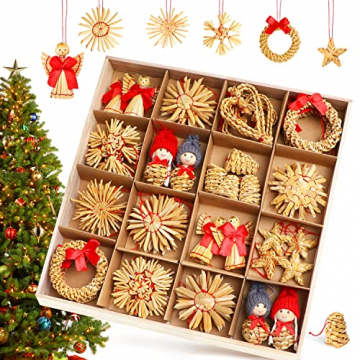 Strohsterne Weihnachtsbaum, 52 Stück Weihnachtlicher Baumschmuck Stroh Anhänger Strohstern, Christbaum Schmuck Strohanhänger natürlicher Christbaumanhänger Weihnachtsdeko - 1