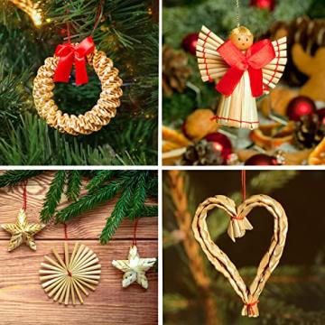 Strohsterne Weihnachtsbaum, 52 Stück Weihnachtlicher Baumschmuck Stroh Anhänger Strohstern, Christbaum Schmuck Strohanhänger natürlicher Christbaumanhänger Weihnachtsdeko - 5