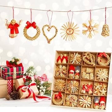 Strohsterne Weihnachtsbaum, 52 Stück Weihnachtlicher Baumschmuck Stroh Anhänger Strohstern, Christbaum Schmuck Strohanhänger natürlicher Christbaumanhänger Weihnachtsdeko - 8
