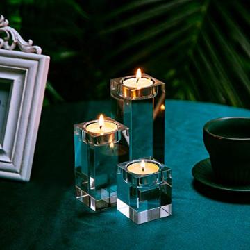 Sziqiqi 1-Set (3-teilig) hochwertige Kristall Glas Kerzenständer Kristalle Kerzenständer für Romantisches Abendessen kreative Kerzenständer Hochzeit Haus Deko Esstisch und Bar, Platz - 3