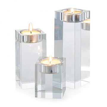 Sziqiqi 1-Set (3-teilig) hochwertige Kristall Glas Kerzenständer Kristalle Kerzenständer für Romantisches Abendessen kreative Kerzenständer Hochzeit Haus Deko Esstisch und Bar, Platz - 1
