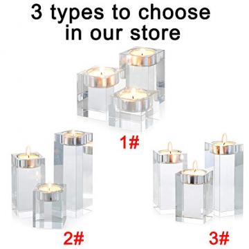 Sziqiqi 1-Set (3-teilig) hochwertige Kristall Glas Kerzenständer Kristalle Kerzenständer für Romantisches Abendessen kreative Kerzenständer Hochzeit Haus Deko Esstisch und Bar, Platz - 6