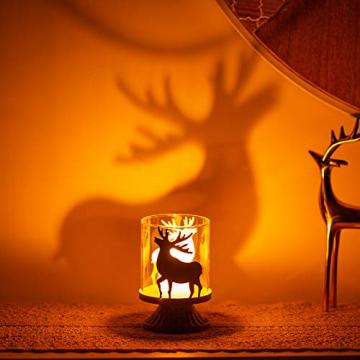 Sziqiqi 2er Set Vintage Kerzenleuchter Kerzenständer Kerzenhalter Windlichthalter aus Metall für Stumpenkerzen, Hurricane Kerzenständer Dekoration für Party Weihnachten Tisch Mantel Kamin, Weiß - 3