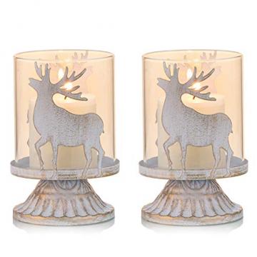 Sziqiqi 2er Set Vintage Kerzenleuchter Kerzenständer Kerzenhalter Windlichthalter aus Metall für Stumpenkerzen, Hurricane Kerzenständer Dekoration für Party Weihnachten Tisch Mantel Kamin, Weiß - 1
