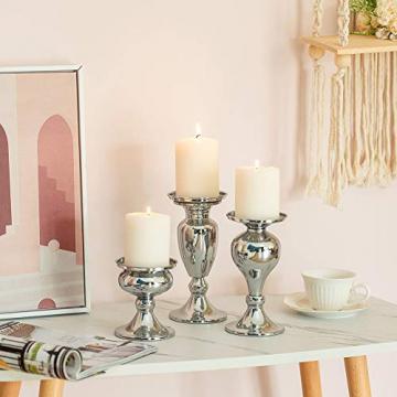 Sziqiqi 3er Set Kerzenleuchter Kerzenständer Schwarz Vintage Kerzenhalter Windlichthalter aus Metall Kerzenhalter für Stumpenkerzen, Kerzenständer Dekoration für Hochzeit Party, Silber - 3
