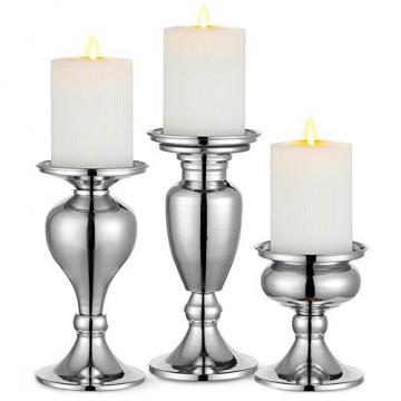 Sziqiqi 3er Set Kerzenleuchter Kerzenständer Schwarz Vintage Kerzenhalter Windlichthalter aus Metall Kerzenhalter für Stumpenkerzen, Kerzenständer Dekoration für Hochzeit Party, Silber - 1
