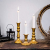 Sziqiqi Kerzenständer Kerzenhalter Kerzenleuchter in Gold für Schabbat Kerzen 3er Set, Metall Deko Kerzenständer, Vintage Kerzen Ständer Tischdeko für Hochzeit Wohnzimmer Tabelle Schabbat, S+M+L - 2