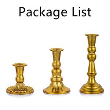 Sziqiqi Kerzenständer Kerzenhalter Kerzenleuchter in Gold für Schabbat Kerzen 3er Set, Metall Deko Kerzenständer, Vintage Kerzen Ständer Tischdeko für Hochzeit Wohnzimmer Tabelle Schabbat, S+M+L - 6