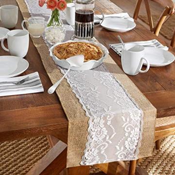 TAOCOCO Jute Tischläufer 5 Stück Rustic Burlap Spitze Hessischen Rustikale Land für Hochzeit Festival-Ereignis Tischdekoration 30 x 275cm - 5