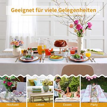 TAOCOCO Jute Tischläufer 5 Stück Rustic Burlap Spitze Hessischen Rustikale Land für Hochzeit Festival-Ereignis Tischdekoration 30 x 275cm - 7