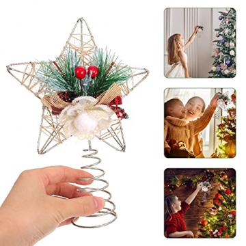 TENDYCOCO Weihnachten Baum Topper Kreative Sterne Baumkrone für Weihnachten Baum Hause Hochzeit Party Decor - 9
