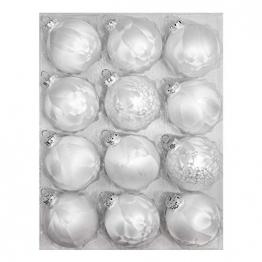 Thüringer Glasdesign Weihnachtskugeln weiß Eislack 12 Stück/Set, Ø 8 cm Weihnachtsdeko - 1