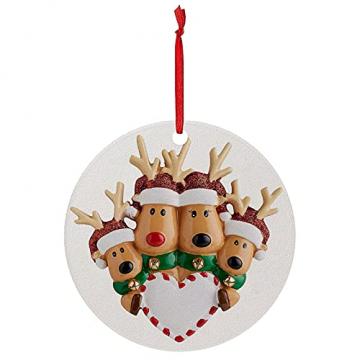 TianWlio Runden Anhänger Holz Elchdruck Weihnachten Deko,Holz Christbaumschmuck Weihnachtsbasteln Weihnachtsbaum Anhänger Weihnachtsdeko zum Aufhängen - 2