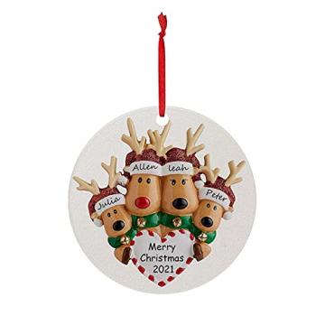 TianWlio Runden Anhänger Holz Elchdruck Weihnachten Deko,Holz Christbaumschmuck Weihnachtsbasteln Weihnachtsbaum Anhänger Weihnachtsdeko zum Aufhängen - 1