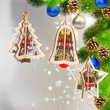 Tinksky 9 Stücke Holz Christbaumschmuck Anhänger Weihnachtsbaum Weihnachtsglocke Weihnachtsstern Holz Weihnachtsdekoration - 2