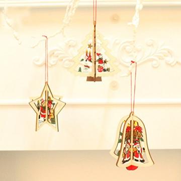 Tinksky 9 Stücke Holz Christbaumschmuck Anhänger Weihnachtsbaum Weihnachtsglocke Weihnachtsstern Holz Weihnachtsdekoration - 3