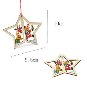 Tinksky 9 Stücke Holz Christbaumschmuck Anhänger Weihnachtsbaum Weihnachtsglocke Weihnachtsstern Holz Weihnachtsdekoration - 4